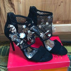 Black suede sandal... with floral sandal